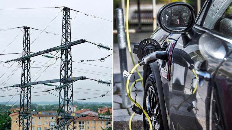 Montage på genrebild av kraftledningar och en bil som laddas med el.
