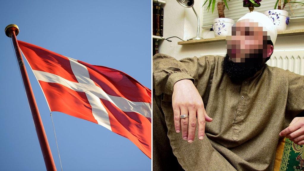 dansk flagga och maskerad bild på bokhandlaren