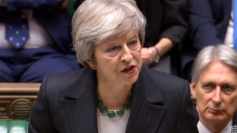 Theresa May talade i parlamentet. Foto: TT.
