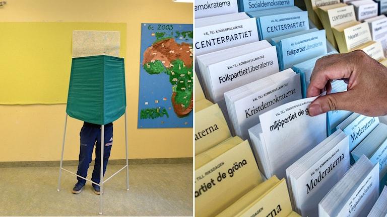 Man står och röstar i en vallokal. Han tar en valsedel för kommunfullmäktige.