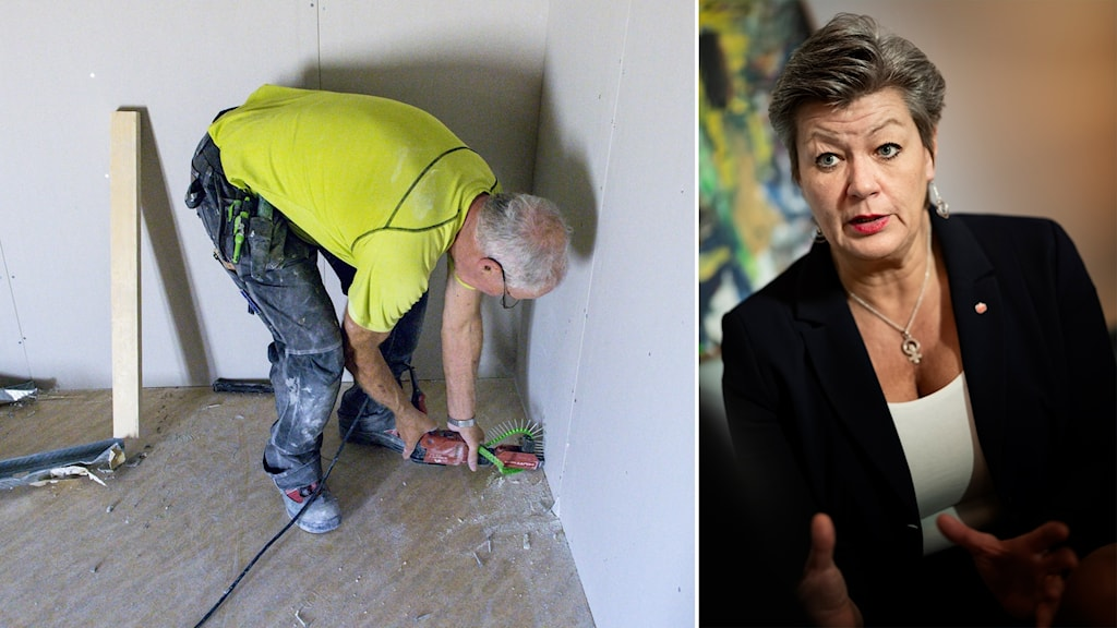 delad bild: äldre man som jobbar som snickare, kvinna med svart kavaj.