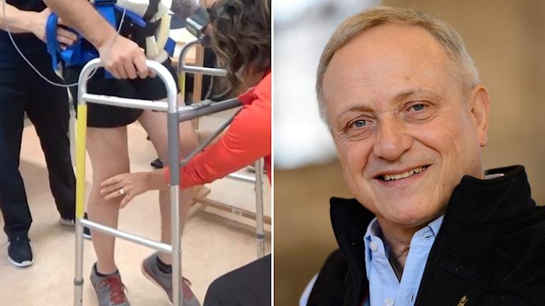 Claes Hultling, experten på ryggmärgsskador på Karolinska Universitetssjukhuset och en bild på den unga man som går med hjälp av elektrisk stimulering.