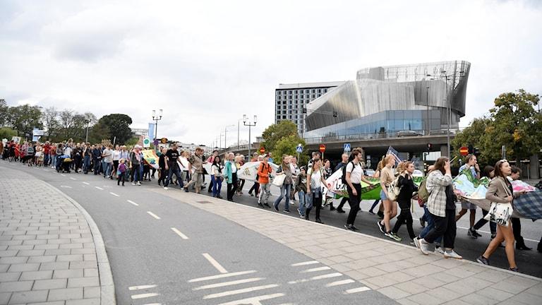 Klimatmanifestationen Peoples Climate March i Stockholm på lördagseftermiddagen.