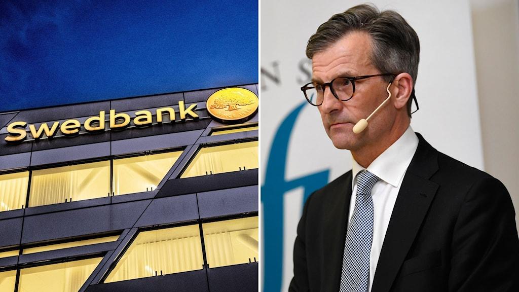 Till vänster: Swedbankkontor. Till höger: Finansinspektionens generaldirektör Erik Thedéen.