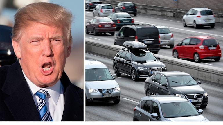 Donald Trump; bilar. Foto: Jim Watson/Anders Wikblad/TT. Montage: Sveriges Radio.