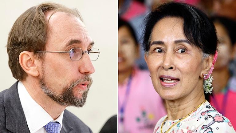 FN:s människorättschef Zeid Ra'ad al-Hussein och Burmas ledare Aung San Suu Kyi.