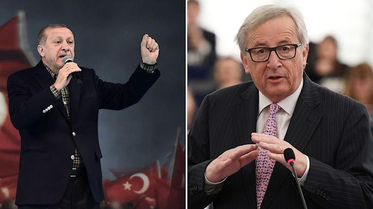 Turkiets president Tayyip Erdogan och EU-kommissionens ordförande Jean Claude Juncker.
