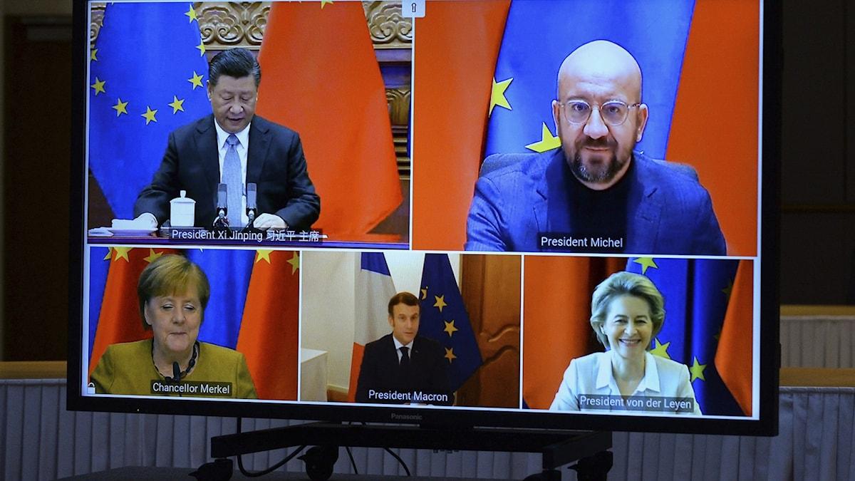 Videomöte med EU-ledare och Kinas president Xi Jinping.