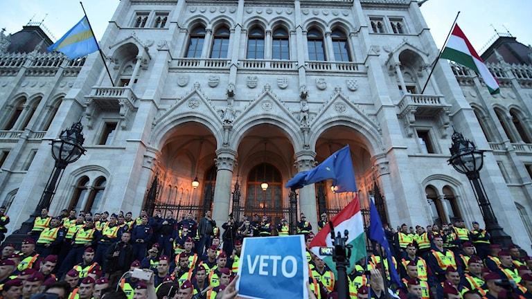 Protester utanför Centraleuropeiska universitetet i Budapest i början av april
