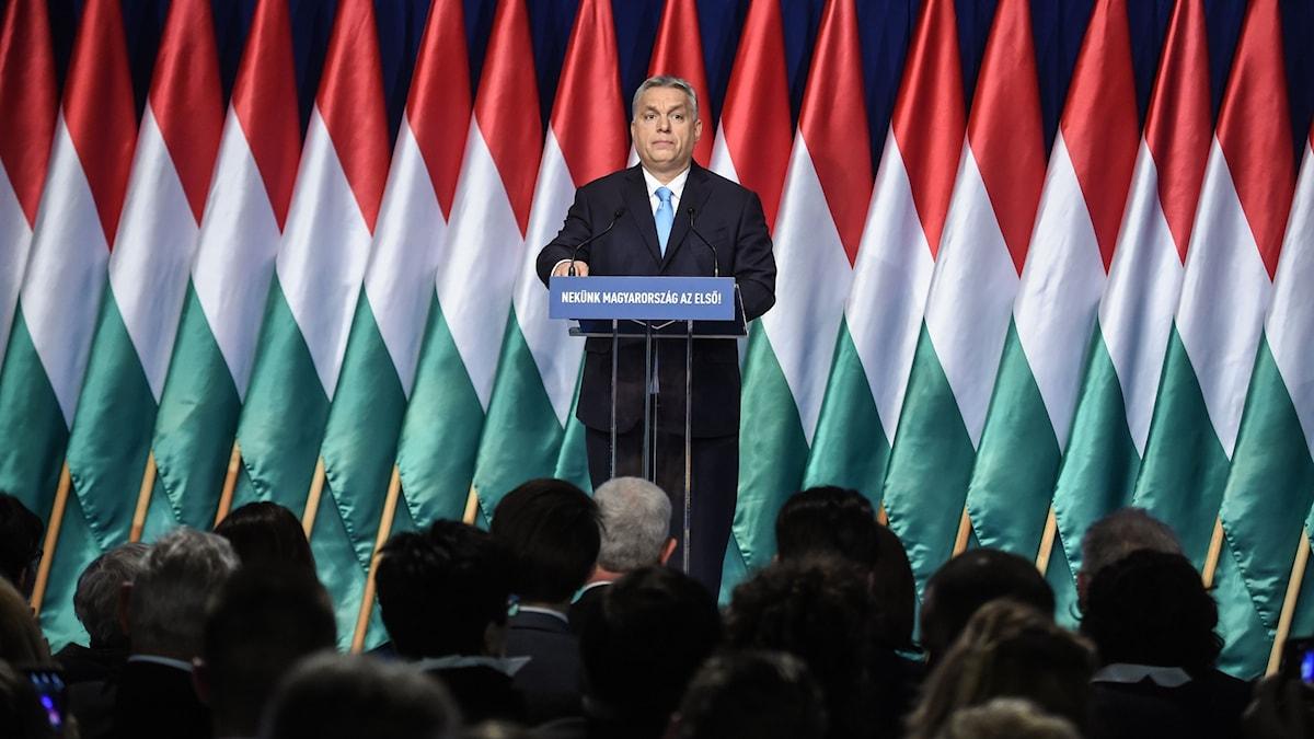 Ungerns premiärminister Viktor Orbán håller sittårliga tal till nationen.