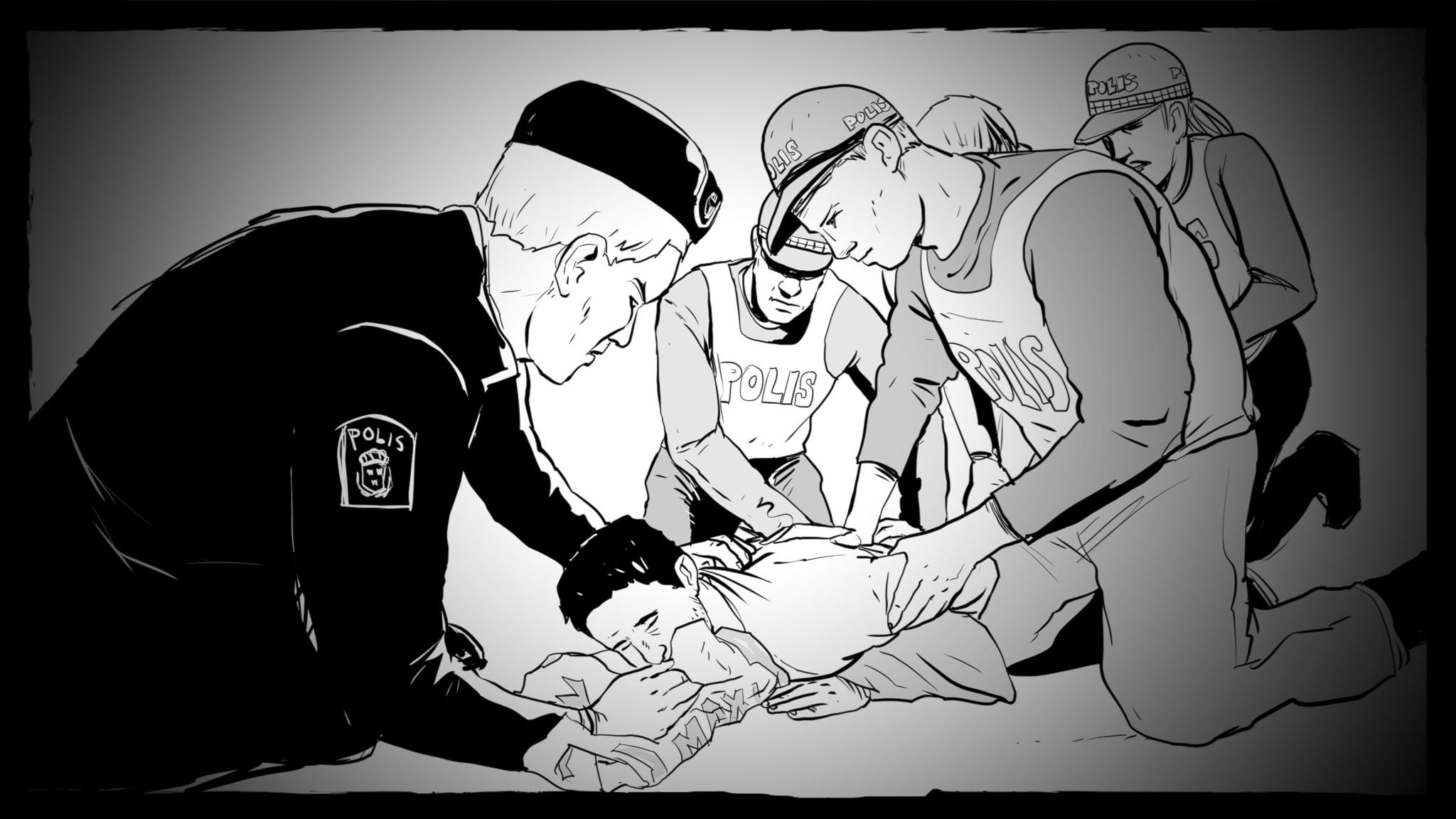 Man hålls fast mot golvet och en polis håller en plastpåse mot hans mun. Illustration: Giuseppe Cristiano