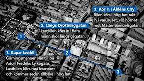 Grafik: Lastbilens färdväg, Drottninggatan 7 april 2017. Grafik: Liv Widell/Nils Lindström/Sveriges Radio.