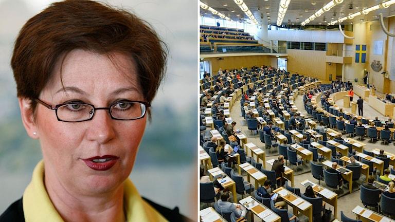 Delad bild: Anna Hagwall och riksdagen.