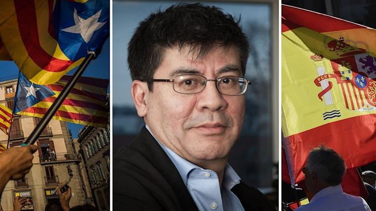 Flaggor från Spanien och Katalonien. Reporter Ivan Garcia.