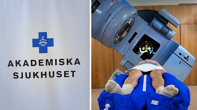 Akademiska sjukhusets logga och en strålningskanon på Radiumhemmet på Karolinska sjukhuset i Solna.