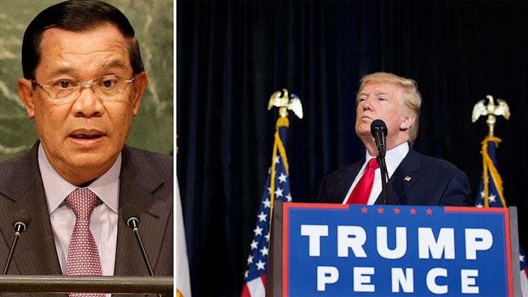 Delad bild: Kambodja premiärminister Hun Sen och den amerikanske presidentkandidaten Donald Trump.