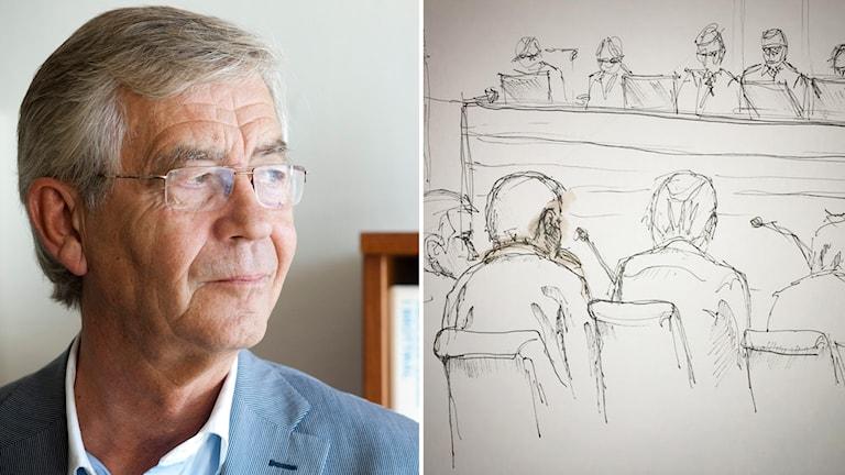 Peter Althin och skiss från rättegång