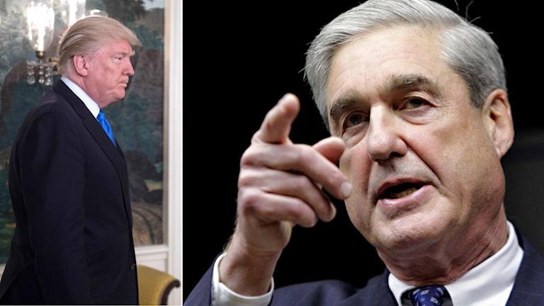 Donald Trump, president USA och Robert Mueller, särskild åklagare