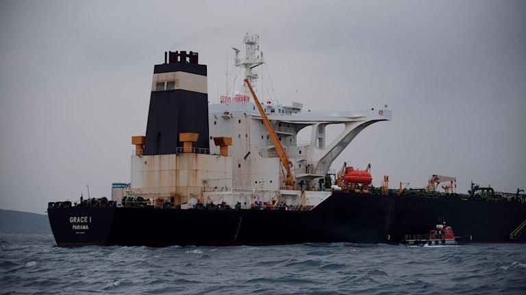 Oljetankern Grace 1 stoppades i Gibraltar.