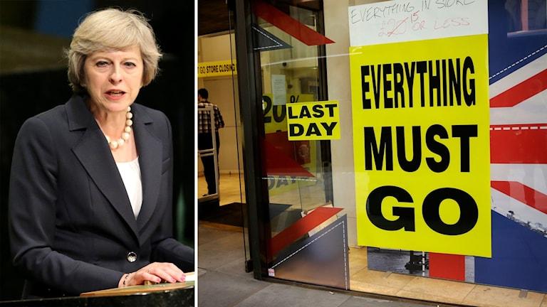 Bildmontage av Storbritanniens premiärminister Theresa May och en butiksskylt med brittisk flagga.