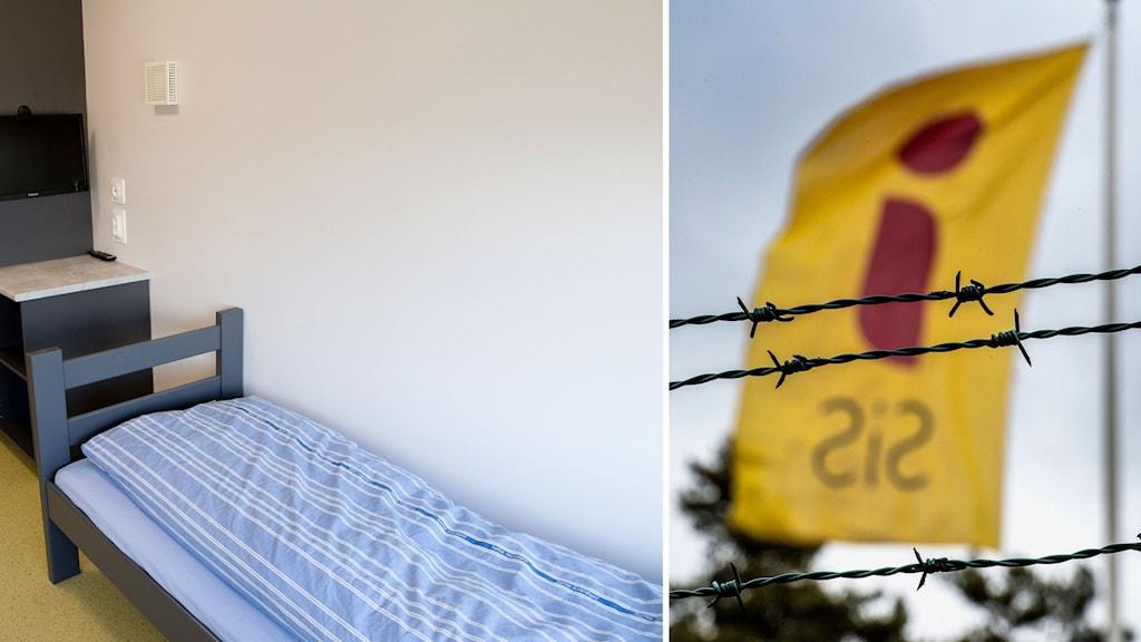 Bildmontage av en flagga från Statens institutionsstyrelse och en säng i ett ungdomshem.