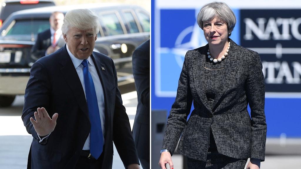 Donald Trump och Theresa May i Bryssel