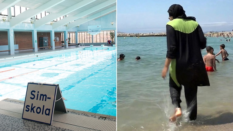 """Split picture: a swimming pool with the sign """"Sim skola"""" (swimming school) + a woman in a burkini on a beach"""