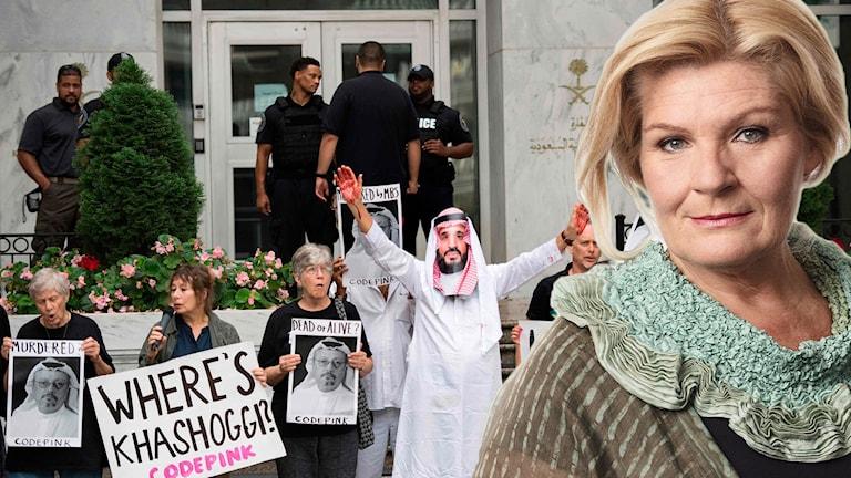 Demonstration utanför den saudiska ambassaden i Washington efter journalisten Jamal Khashoggis försvinnande och en bild på Cecilia Uddén.