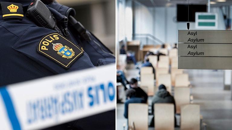Polis vid avspärrningar och vänterum för asylsökande.