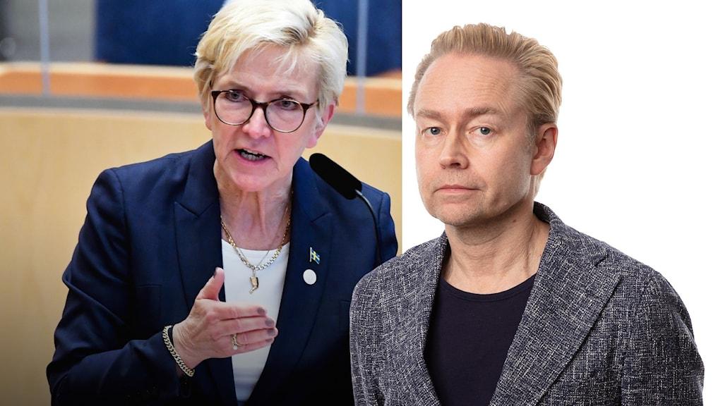 Riksdagsledamoten Kerstin Lundgren (C) under den utrikespolitiska debatten i riksdagen.