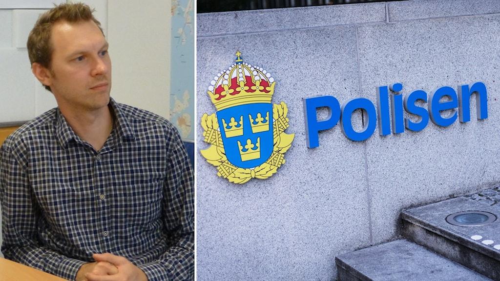 Bildsplit på Robert Tkalcic, tillförordnat huvudskyddsombud på Polismyndigheten och bild på polisens emblem.