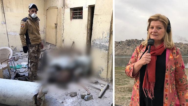 Cecilia Uddén tillbaka i det sönderbombade Mosul. Räddningstjänsten har hittills grävt fram 2 585 döda civila.