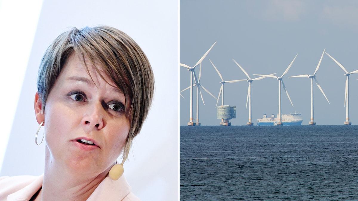 Socialdemokraten Katrin Stjernfeldt Jammeh på ena sidan, en bild på vindkraftverk i Öresund på andra.