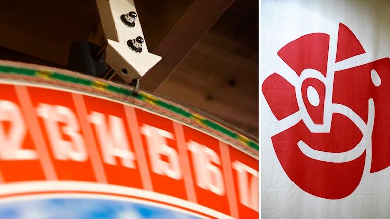 Bildkollage med ett lotterihjul och Socialdemokraternas logotyp.