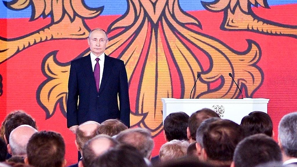 Ryska presidenten Vladimir Putin vid sitt linjetal.