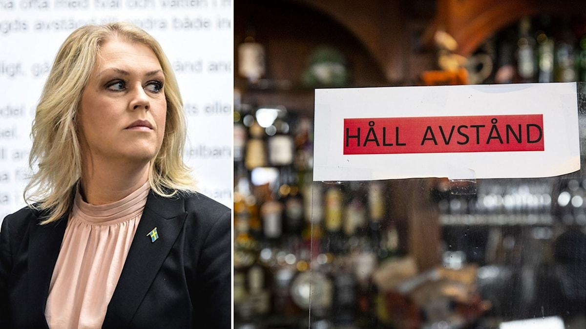 Lena Hallengren och en skylt om att hålla avstånd på en bar.