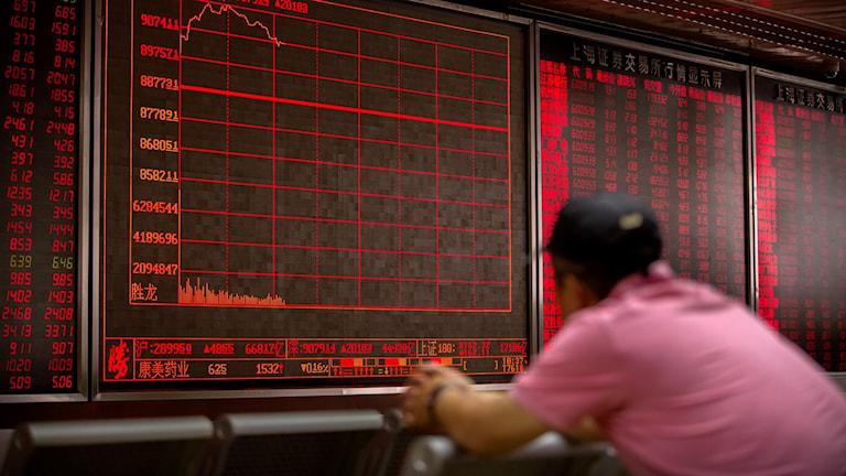 Kinesisk investerare på börsen i Peking i väntan på resultatet av de känsliga handelsförhandlingarna mellan USA och Kina.