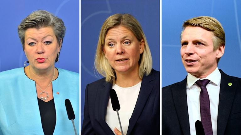 Ylva Johansson (S), Magdalena Andersson (S) och Per Bolund (MP)