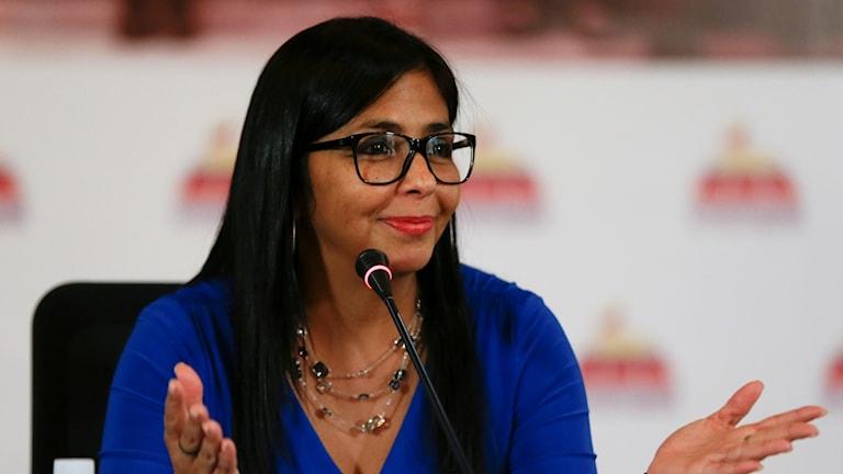 Författningsförsamlingens ordförande Delcy Rodriguez.