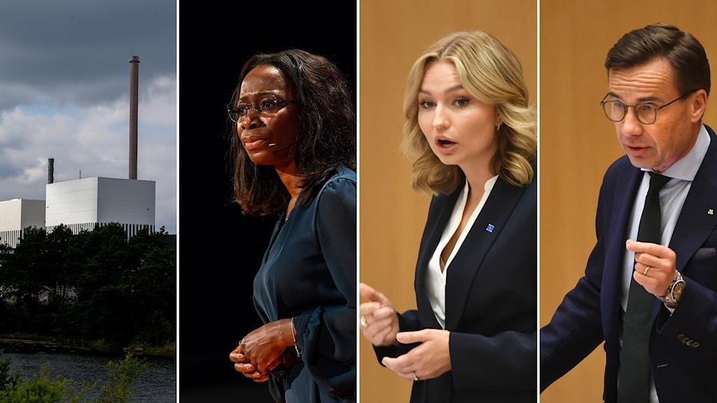 Fyrdelad bild: Kärnkraftverk och tre partiledare.