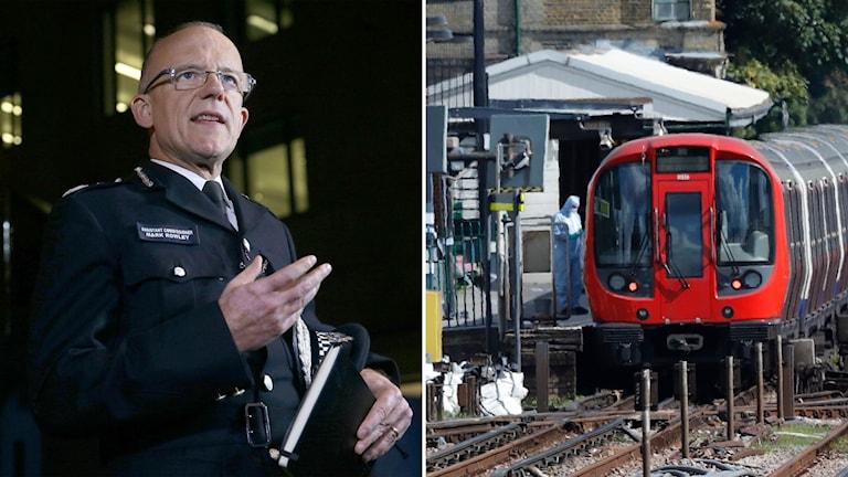 Delad bild: man i polisuniform, tunnelbanetåg med kriminaltekniker utanför.