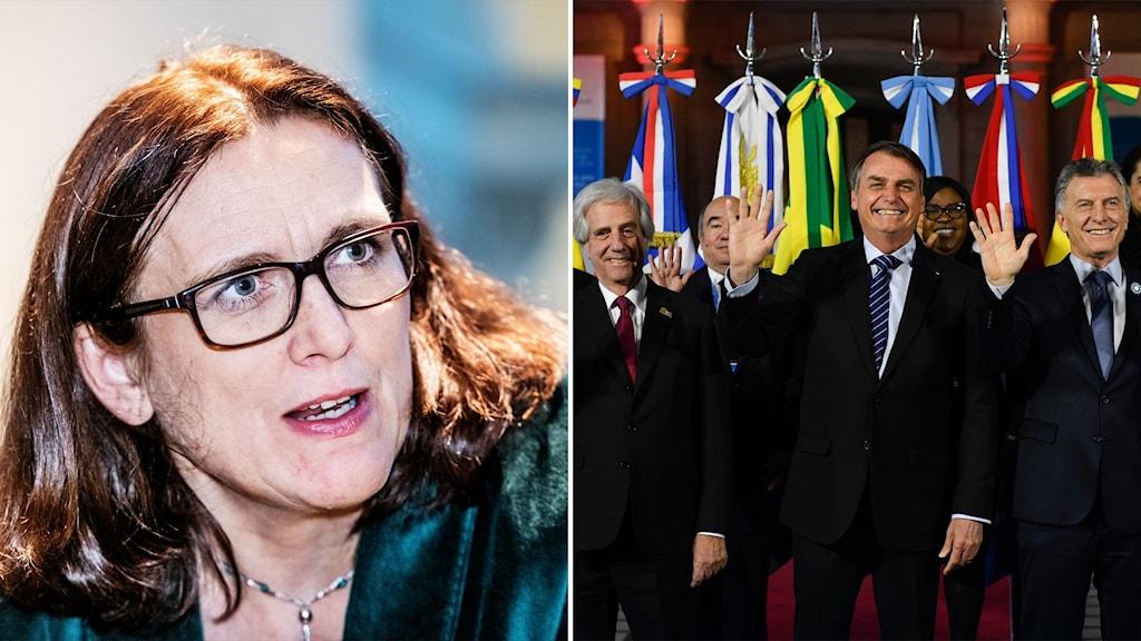 Många EU-länder är kritiska till det förslag som finns till avtal med sydamerikanska tullunionen Mercosur. Handelskommissionär Cecilia Malmström är positiv till avtalet, men motståndare pekar framförallt på Brasiliens bristande klimatengagemang. På bilden till höger Uruguays, Brasiliens och Argentinas presidenter under Mercosurs toppmöte i juli 2019.