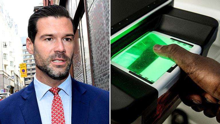 Johan Forssell blir intervjuad av Sveriges Radio och bild på en person som scannar sitt fingeravtryck.