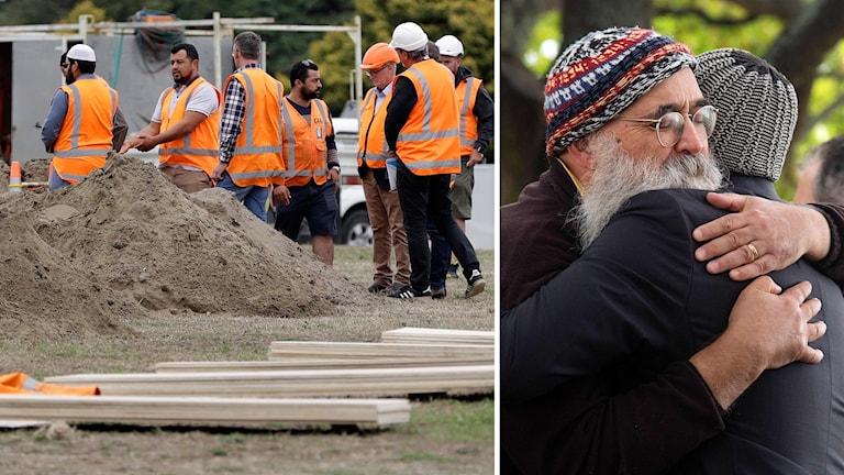 Gravar förbereds i Christchurch efter dådet.