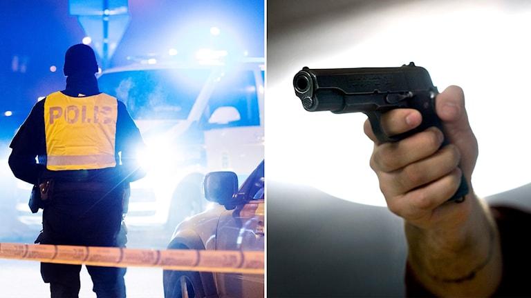 Delad bild: Polis utomhus och ett vapen.