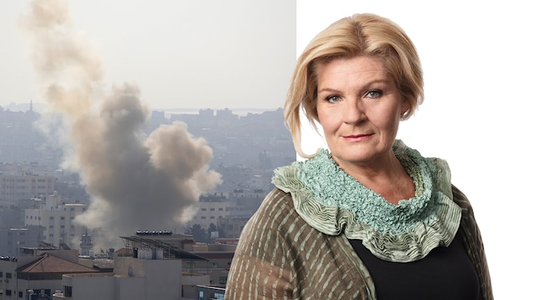 Rök i Gaza efter raketavfyrningen (t.v). Ekots Mellanösternkorrespondent Cecilia Uddén (t.h).