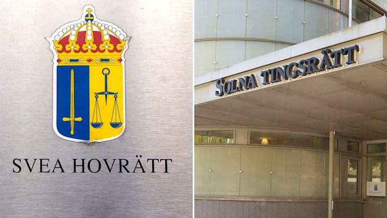 Svea Hovrätts fasad och Solna Tingsrätts fasad.