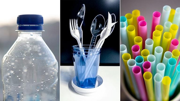 Flaska, bestick och sugrör i plast