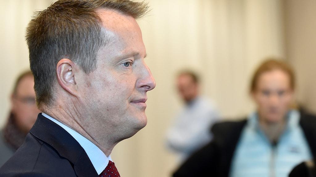 Inrikesminister Anders Ygeman vid måndagens pressträff i Malmö i samband med ministerns besök i staden.