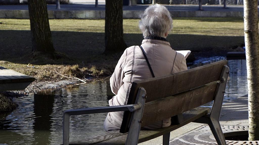 Äldre kvinna sitter ensam på en bänk och läser.